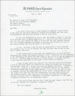 JAMES A. FARLEY - TYPED LETTER SIGNED 06/09/1964