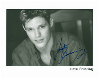 JUSTIN BRUENING - AUTOGRAPHED SIGNED PHOTOGRAPH
