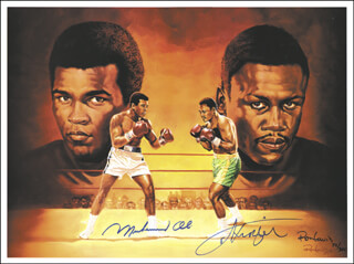 Autographs: MUHAMMAD THE GREATEST ALI - ILLUSTRATION SIGNED 1989 CO-SIGNED BY: RON LEWIS, JOE SMOKIN JOE FRAZIER