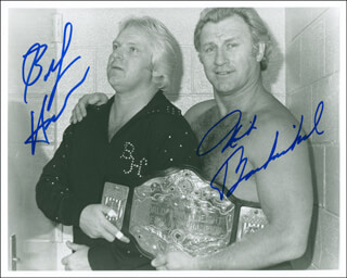 Autographs: NICK BOCKWINKEL - PHOTOGRAPH SIGNED CO-SIGNED BY: RAYMOND BOBBY THE BRAIN HEENAN
