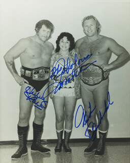 Autographs: NICK BOCKWINKEL - PHOTOGRAPH SIGNED CO-SIGNED BY: HARLEY RACE, MARY THE FABULOUS MOOLAH ELLISON