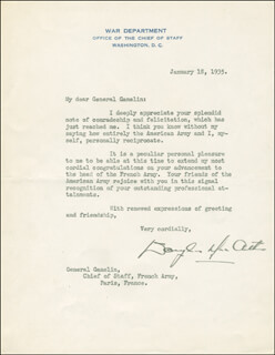 GENERAL DOUGLAS MACARTHUR - TYPED LETTER SIGNED 01/18/1935