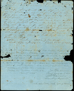 MAJOR GENERAL WILLIAM W. ALLEN - MANUSCRIPT DOCUMENT SIGNED 04/18/1865 CO-SIGNED BY: COLONEL D. T. BLAKELY