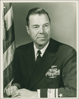 Autographs: VICE ADMIRAL JAMES F. CALVERT - PHOTOGRAPH SIGNED