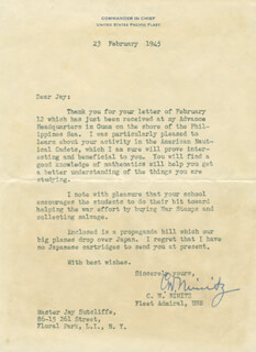 ADMIRAL CHESTER W. NIMITZ - TYPED LETTER SIGNED 02/23/1945