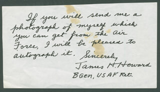 BRIGADIER GENERAL JAMES H. HOWARD - AUTOGRAPH NOTE SIGNED