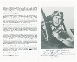Autographs: BRIGADIER GENERAL PAUL P. DOUGLAS JR. - BIOGRAPHY SIGNED