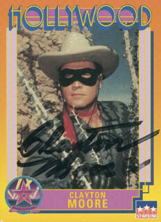 CLAYTON THE LONE RANGER MOORE - TRADING/SPORTS CARD SIGNED