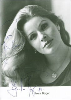 SENTA BERGER - INSCRIBED PRINTED PHOTOGRAPH SIGNED IN INK 1986
