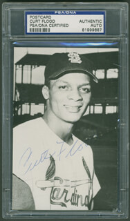 CURT FLOOD - PICTURE POST CARD SIGNED