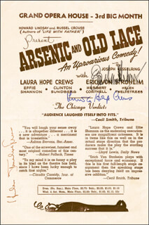 Autographs: ARSENIC AND OLD LACE PLAY CAST - SHOW BILL SIGNED CO-SIGNED BY: HELEN TWELVETREES, ERICH THE DIRTY HUN VON STROHEIM, LAURA HOPE CREWS