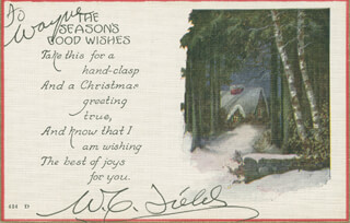W. C. FIELDS - CHRISTMAS / HOLIDAY CARD SIGNED CIRCA 1908
