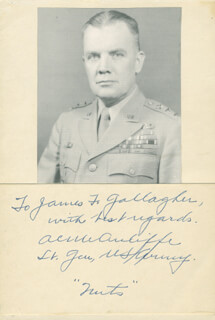 GENERAL ANTHONY C. MCAULIFFE - INSCRIBED PHOTOGRAPH MOUNT SIGNED