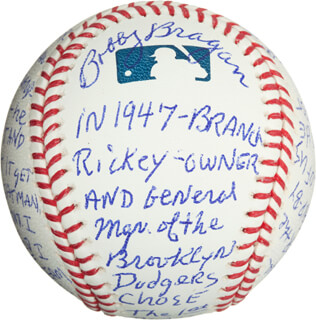 Autographs: BOBBY NIG BRAGAN - ANNOTATED BASEBALL SIGNED