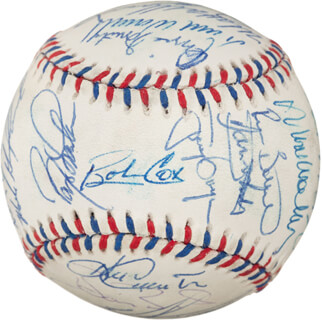 Autographs: 1996 NATIONAL LEAGUE ALL STAR TEAM - BASEBALL SIGNED CO-SIGNED BY: TONY GWYNN, GREG MADDUX, OZZIE THE WIZARD OF OZ SMITH, BARRY L. BONDS, BARRY LARKIN, ELLIS BURKS, BOBBY COX, MARK WOHLERS, TOM GLAVINE, JOHN SMOLTZ, FRED McGRIFF, GARY SHEFFIELD, TODD HUNDLEY, JEFF BAGWELL, CHIPPER JONES, MIKE PIAZZA, ERIC YOUNG, LANCE JOHNSON, RICKY BOTTALICO, MATT THE BAT WILLIAMS, STEVE TRACHSEL, KEN CAMINITI, PEDRO MARTINEZ, DANTE BICHETTE, TODD WORRELL, JASON KENDALL, HENRY RODRIGUEZ, MARK GRUDZIELANEK