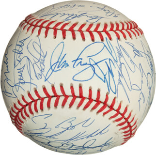 Autographs: 1994 NATIONAL LEAGUE ALL STAR TEAM - BASEBALL SIGNED CO-SIGNED BY: LENNY DYKSTRA, TONY GWYNN, GREG MADDUX, OZZIE THE WIZARD OF OZ SMITH, RANDY WOJO MYERS, BARRY L. BONDS, BARRY LARKIN, JIM FREGOSI, GREGG JEFFERIES, DOUG JONES, DAVID JUSTICE, MARQUIS GRISSOM, FRED McGRIFF, MOISES ALOU, JEFF BAGWELL, JEFF CONINE, MIKE PIAZZA, CRAIG BIGGIO, KEN HILL, MATT THE BAT WILLIAMS, ROD BECK, MARIANO DUNCAN, KEN CAMINITI, JOHN HUDEK, DANTE BICHETTE, DOUG DRABEK, WIL CORDERO, DARRIN FLETCHER, DANNY JACKSON