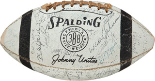 Autographs: 1963 BALTIMORE COLTS - FOOTBALL SIGNED CO-SIGNED BY: RAYMOND BERRY, LEONARD E. MOORE, JOHNNY UNITAS, JOHN MACKEY, TOM MATTE, GEORGE PREAS, JIM WELCH, BOBBY BOYD, DON SHINNICK, ALEX HAWKINS, DICK SZYMANSKI, BUTCH WILSON, WILLIE RICHARDSON, FRED MILLER, WENDELL HARRIS, JIMMY ORR, JERRY LOGAN, JERRY HILL, NATE CRADDOCK, BOB VOGEL, ALEX SANDUSKY, DAN SULLIVAN