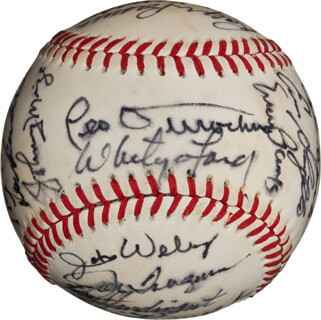 Autographs: BOB FELLER - BASEBALL SIGNED CO-SIGNED BY: ALLIE REYNOLDS, ERNIE MR. CUB BANKS, LEW BURDETTE, WHITEY FORD, JOHNNY MIZE, ART HOWE, JOE PIGNATANO, ALVIN AL DARK, ENOS SLAUGHTER, TOM GRIEVE, BILLY HERMAN, RALPH HAWK BRANCA, LEO DUROCHER, SANDY KOUFAX, FERGUSON JENKINS, RAY NARLESKI, TOM STURDIVANT