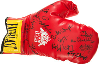 MUHAMMAD THE GREATEST ALI - BOXING GLOVE SIGNED CO-SIGNED BY: DON KING, REVEREND AL (ALFRED) SHARPTON, DOMINIQUE SHARPTON, ASHLEY SHARPTON