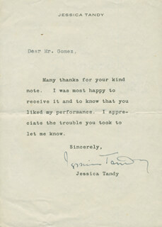 JESSICA TANDY - TYPED LETTER SIGNED