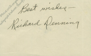 RICHARD DENNING - AUTOGRAPH SENTIMENT SIGNED