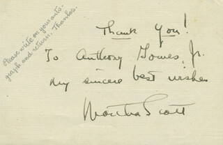 MARTHA SCOTT - AUTOGRAPH NOTE SIGNED