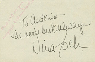 NINA FOCH - AUTOGRAPH NOTE SIGNED