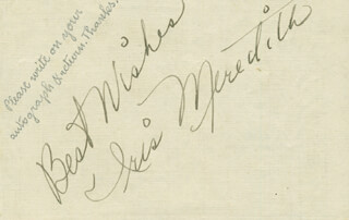 IRIS MEREDITH - AUTOGRAPH SENTIMENT SIGNED