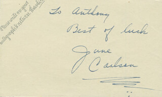 JUNE CARLSON - AUTOGRAPH NOTE SIGNED