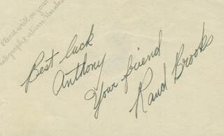 Autographs: RAND BROOKS - AUTOGRAPH NOTE SIGNED