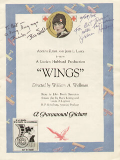 Autographs: WINGS MOVIE CAST - PROGRAM SIGNED 02/29/1968 CO-SIGNED BY: RICHARD ARLEN, CHARLES BUDDY ROGERS, WILLIAM A. WELLMAN, LUCIEN HUBBARD