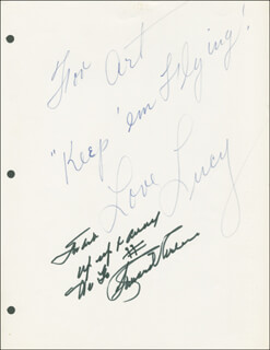 Autographs: THE LUCY SHOW - INSCRIBED SCRIPT SIGNED CO-SIGNED BY: RICHARD ARLEN, CHARLES BUDDY ROGERS, LUCILLE LUCY BALL