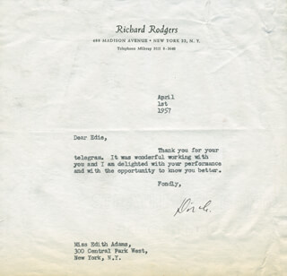RICHARD RODGERS - TYPED LETTER SIGNED 04/01/1957