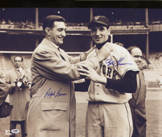 BOBBY THOMSON - AUTOGRAPHED SIGNED PHOTOGRAPH CO-SIGNED BY: RALPH HAWK BRANCA
