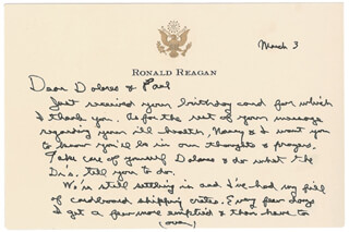 PRESIDENT RONALD REAGAN - AUTOGRAPH LETTER SIGNED 03/03/1989