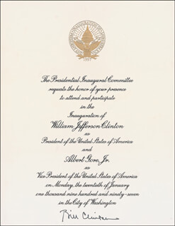 PRESIDENT WILLIAM J. BILL CLINTON - INAUGURAL INVITATION SIGNED CIRCA 1997