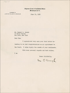 ASSOCIATE JUSTICE WILLIAM O. DOUGLAS - TYPED LETTER SIGNED 06/10/1939