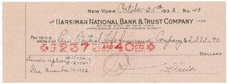 W. C. FIELDS - AUTOGRAPHED SIGNED CHECK 10/25/1932