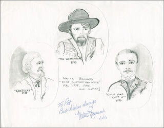 WALTER BRENNAN - INSCRIBED ORIGINAL ART SIGNED 11/09/1973