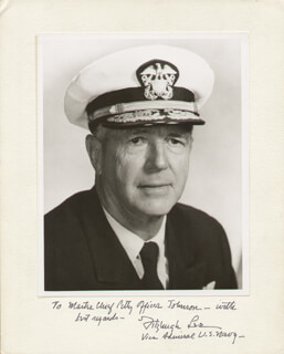 ADMIRAL FITZHUGH LEE III - INSCRIBED PHOTOGRAPH MOUNT SIGNED