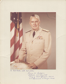 Autographs: ADMIRAL GEORGE W. ANDERSON - INSCRIBED PHOTOGRAPH MOUNT SIGNED