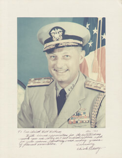 Autographs: ADMIRAL BERNARD A. CHICK CLAREY - INSCRIBED PHOTOGRAPH MOUNT SIGNED 12/1964