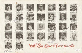 THE ST. LOUIS CARDINALS - PROGRAM SIGNED CIRCA 1966 CO-SIGNED BY: CURT FLOOD, DICK SISLER, JOE HOERNER, TIM McCARVER, BOB (BOBBY) TOLAN