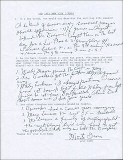 MONTE IRVIN - QUESTIONNAIRE SIGNED