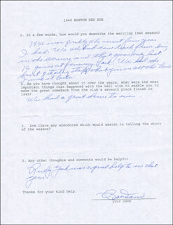BOBBY DOERR - QUESTIONNAIRE SIGNED