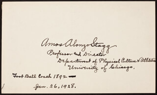 AMOS ALONZO STAGG - AUTOGRAPH 01/26/1928