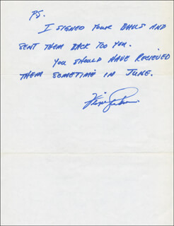 FERGUSON JENKINS - AUTOGRAPH NOTE SIGNED CO-SIGNED BY: G. RICHARD MCKELVEY