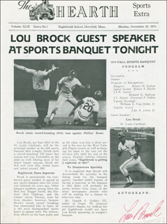 LOU BROCK - PROGRAM COVER SIGNED