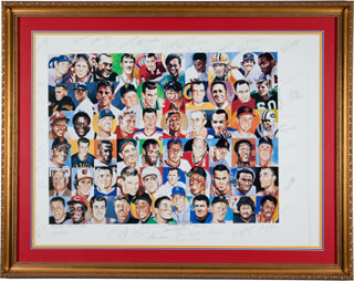 Autographs: WILLIE SAY HEY KID MAYS - LITHOGRAPH SIGNED CO-SIGNED BY: YOGI BERRA, JIM TAYLOR, GALE SAYERS, JIM PALMER, GEORGE KELL, RAY NITSCHKE, BILL SHARMAN, GEORGE BLANDA, TOM FEARS, MIKE DITKA, CHUCK BEDNARIK, ROLLIE FINGERS, HUGH McELHENNY, JOHNNY LUJACK, BOB PETTIT, JAN STENERUD, BERNIE BOOM BOOM GEOFFRION, MARION MOTLEY, JULIUS DR. J. ERVING, PANCHO GONZALEZ, BROOKS ROBINSON, JOHN HAVLICEK, RALPH KINER, BOB KURLAND, PEE WEE REESE, AL MR. TIGER KALINE, ROBIN ROBERTS, DON MAYNARD, OTTO GRAHAM, GLENN W. DAVIS, HARRY LITWACK, JACK HAM, DOLPH SCHAYES, ANDY BATHGATE, PAUL WARFIELD, GEORGE YARDLEY, CLIFF HAGAN, TOM GOLA, ED EASY MACAULEY, RED (LEONARD P.) KELLY, RON MIX, ANN MEYERS DRYSDALE, STAN KOTZEN, RALPH MILLER, DENNIS RALSTON, SAM JONES