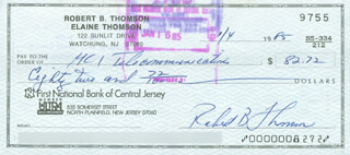 BOBBY THOMSON - AUTOGRAPHED SIGNED CHECK 01/04/1985